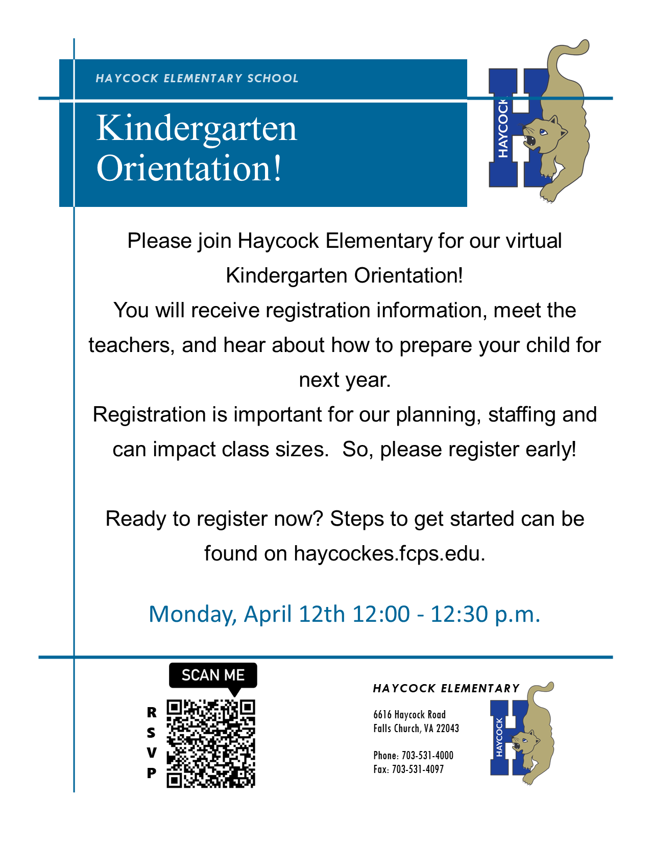 Kinder Orientation Flyer April 12th 12-12:30 pm